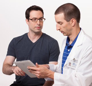 Man talking with his doctor