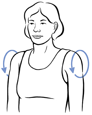 Woman doing shoulder rotation exercise.