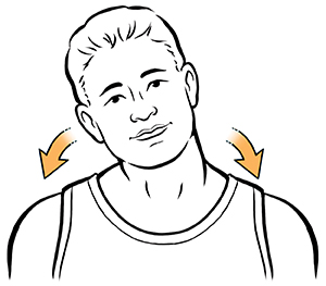 Man tilting head towards shoulder. Arrows show to do this on both sides.